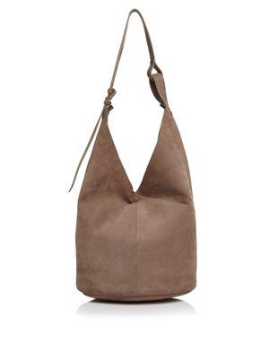 STEVEN ALAN Etta Nubuck Leather Hobo Bag in Taupe Grey