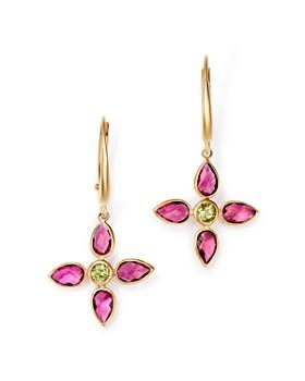 Olivia B - 14K Yellow Gold Pink Tourmaline & Peridot Flower Drop Earrings - 100% Exclusive