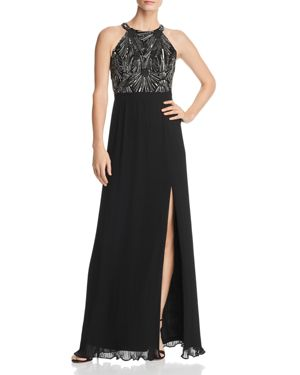 AIDAN MATTOX EMBELLISHED BODICE GOWN