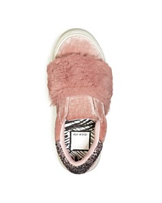 Dolce Vita - Girls' Caisi Velvet & Faux-Fur Low-Top Sneakers - Little Kid, Big Kid
