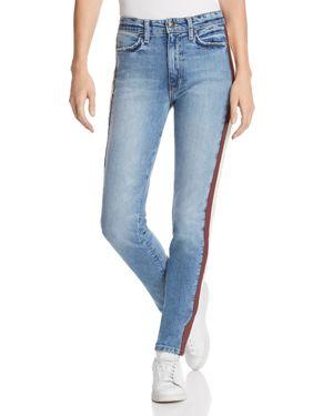 Charlie Lambskin Leather Stripe High Waist Ankle Skinny Jeans in Arlo