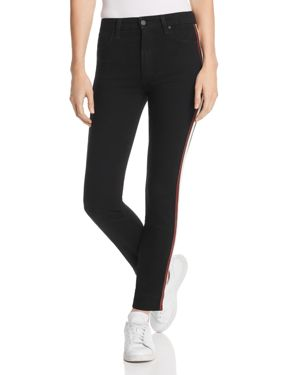 Charlie High Waist Ankle Skinny Jeans With Leather Stripes, Arriana