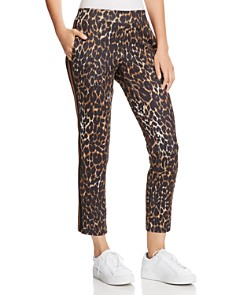 PAM & GELA - Leopard Print Cropped Track Pants