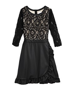 US Angels - Girls' Lace & Faux-Leather Dress - Big Kid