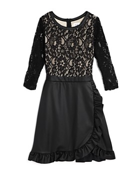 US Angels - Girls' Lace & Faux-Leather Dress - Big Kid