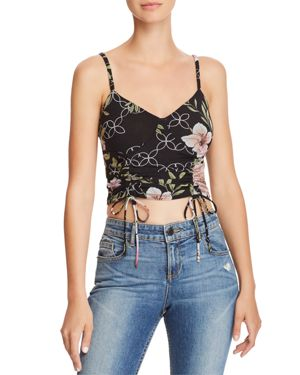 GUESS ODETTE RUCHED DRAWSTRING FLORAL CAMISOLE