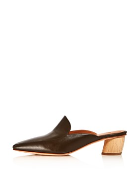 LoQ - Women's Belen Square Toe Leather Low-Heel Mules