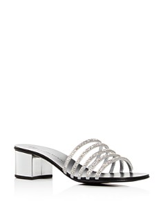 Giuseppe Zanotti - Women's Embellished Leather Block-Heel Slide Sandals