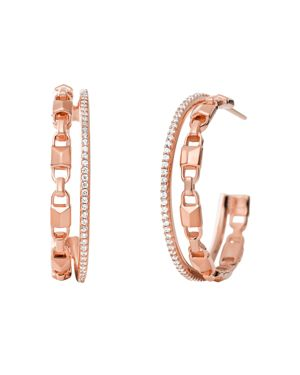 Mercer Link Double Row Sterling Silver Hoop Earrings In 14K Gold-Plated Sterling Silver, 14K Rose Go in Rose Gold