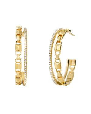 Mercer Link Double Row Sterling Silver Hoop Earrings In 14K Gold-Plated Sterling Silver, 14K Rose Go