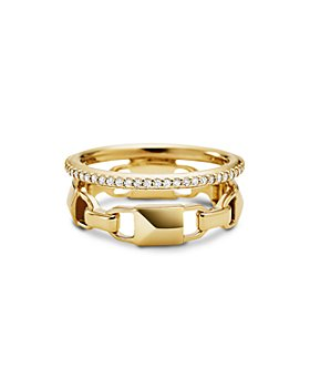 Michael Kors - Mercer Link Double Row Sterling Silver Ring in 14K Gold-Plated Sterling Silver, 14K Rose Gold-Plated Sterling Silver or Solid Sterling Silver