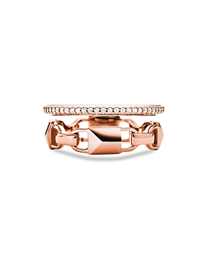 Michael Kors Mercer Link Double Row Sterling Silver Ring in 14K Gold-Plated Sterling Silver, 14K Ros