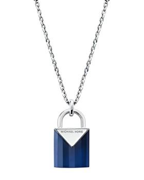 "Michael Kors - Kors Color Semi-Precious Sterling Silver Padlock Pendant Necklace, 16"""