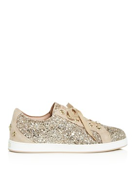 Jimmy Choo - Women's Cash Glitter Lace Up Sneakers