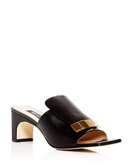 Sergio Rossi - Women's Leather Mid-Heel Slide Sandals