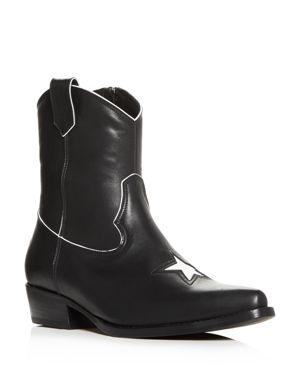 Women'S Elton Leather Low-Heel Western Boots, Black
