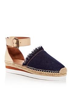 See by Chloé - Women's Leather & Denim Fringe Platform Sandals