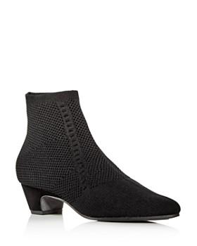 Eileen Fisher - Women's Purl Knit Low-Heel Booties