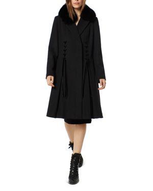 ONE MADISON Fox Fur Collar Velvet Trim Coat in Black