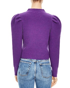 Sandro - Hibou Ribbed Oversize-Shoulder Wool Sweater