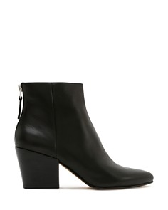 Dolce Vita - Women's Coltyn Almond Toe Back-Zip Leather Booties