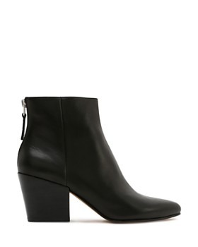 Dolce Vita - Women's Almond Toe Back-Zip Leather Booties