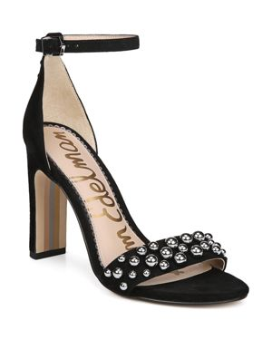 Women'S Yoshi Open Toe Studded Suede High-Heel Sandals, Black Leather