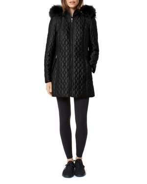 ONE MADISON Diamond Quilted Fox Fur Trim Down Coat in Black