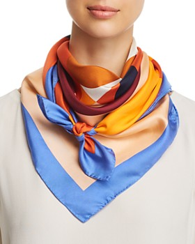 Tory Burch - Color-Block Logo Silk Scarf