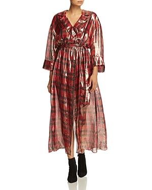 Alice + Olivia Chap Metallic Plaid Faux-Wrap Dress