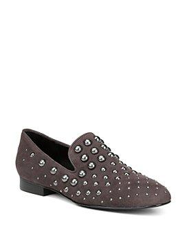 Donald Pliner - Women's Loyd Almond Toe Studded Suede Loafers