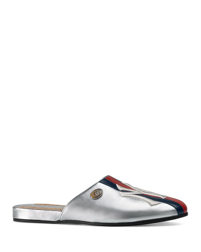 d2fc2e57909 Gucci - Women s New York Yankees trade  Round Toe Metallic Leather Mules