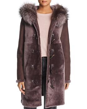 Maximilian Furs - Reversible Fox Fur Trim Hooded Lamb Shearling Coat - 100% Exclusive