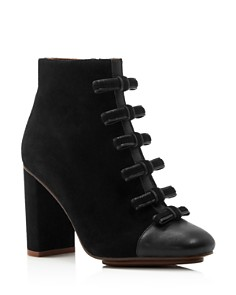 See by Chloé - Women's Gisel Bow Almond Toe Suede High-Heel Booties