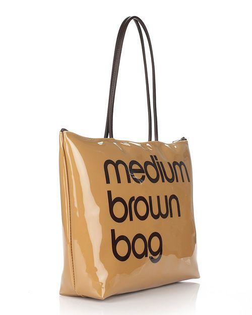 Bloomingdale S Zip Top Medium Brown Bag 100 Exclusive