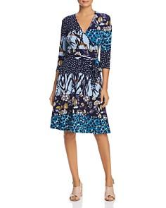 Leota - Mixed Print Faux-Wrap Dress