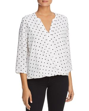 FINN & GRACE Faux-Wrap Dot Top in White/Black Polka Dot