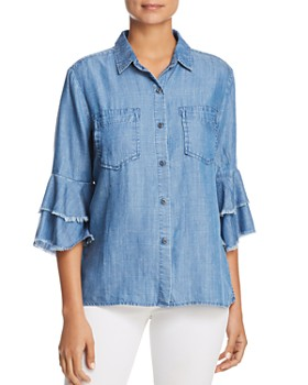 Billy T - Tiered Bell Sleeve Chambray Shirt