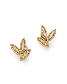 Roberto Coin - 18K Yellow Gold Diamond Petals Diamond Earrings - 100% Exclusive