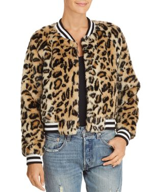 JACK BY BB DAKOTA Jack By Bb Dakota Clever Girl Leopard Print Faux Fur Bomber Jacket in Black