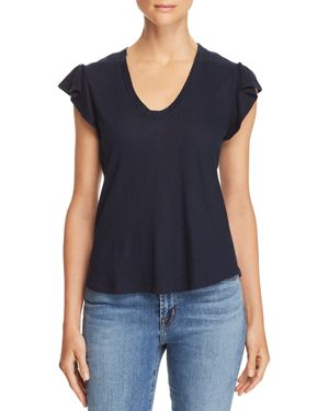LA VIE REBECCA TAYLOR Washed Texture Jersey Tee in Navy