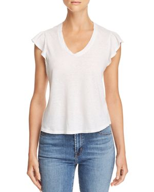 LA VIE REBECCA TAYLOR Washed Texture Jersey Tee in Milk