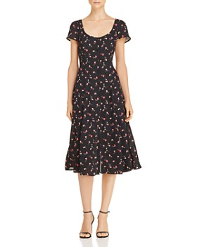 Lost and Wander - Floral Button-Front Midi Dress