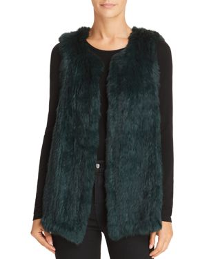 525 AMERICA Rabbit Fur Long Vest - 100% Exclusive in Emerald