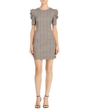 AMANDA UPRICHARD WESTWICK PUFF-SLEEVE PLAID DRESS