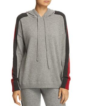 Minnie Rose - Track Stripe Cashmere Hooded Sweatshirt