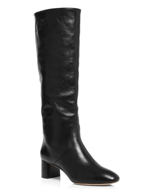 Women'S Gia Pointed Toe Knee-High Leather Mid-Heel Boots in Black