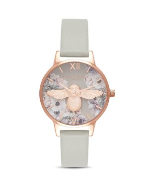 OLIVIA BURTON WATERCOLOR-EFFECT FLORAL WATCH, 30MM