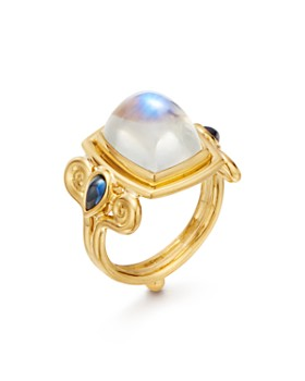 Temple St. Clair - 18K Yellow Gold Blue Moonstone & Sapphire Classic Arabesque Ring