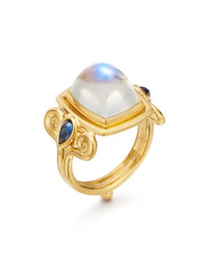 18K Yellow Gold Blue Moonstone & Sapphire Classic Arabesque Ring in White/Gold
